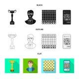 Projeto do vetor do checkmate e do ícone fino Coleção do símbolo de ações do checkmate e do alvo para a Web ilustração royalty free