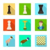 Projeto do vetor do checkmate e do ?cone fino Ajuste da ilustra??o do vetor do estoque do checkmate e do alvo ilustração stock