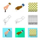 Projeto do vetor do checkmate e do ?cone fino Ajuste do s?mbolo de a??es do checkmate e do alvo para a Web ilustração do vetor
