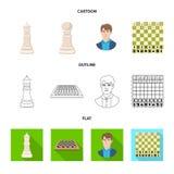 Projeto do vetor do checkmate e do ?cone fino Cole??o da ilustra??o do vetor do estoque do checkmate e do alvo ilustração do vetor