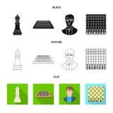 Projeto do vetor do checkmate e do ?cone fino Cole??o da ilustra??o do vetor do estoque do checkmate e do alvo ilustração stock