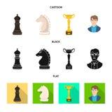 Projeto do vetor do checkmate e do logotipo fino Ajuste do s?mbolo de a??es do checkmate e do alvo para a Web ilustração do vetor