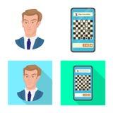 Projeto do vetor do checkmate e do logotipo fino Ajuste do s?mbolo de a??es do checkmate e do alvo para a Web ilustração stock