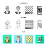 Projeto do vetor do checkmate e do logotipo fino Coleção do ícone do vetor do checkmate e do alvo para o estoque ilustração do vetor