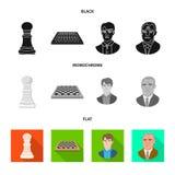 Projeto do vetor do checkmate e do logotipo fino Coleção do símbolo de ações do checkmate e do alvo para a Web ilustração royalty free
