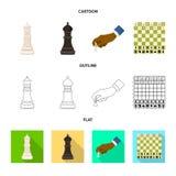 Projeto do vetor do checkmate e do símbolo fino Ajuste do símbolo de ações do checkmate e do alvo para a Web ilustração royalty free