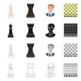 Projeto do vetor do checkmate e do símbolo fino Coleção do ícone do vetor do checkmate e do alvo para o estoque ilustração royalty free