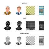 Projeto do vetor do checkmate e do símbolo fino Coleção do símbolo de ações do checkmate e do alvo para a Web ilustração royalty free