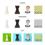 Projeto do vetor do checkmate e do s?mbolo fino Ajuste do ?cone do vetor do checkmate e do alvo para o estoque ilustração do vetor