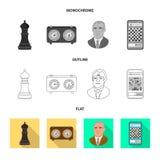 Projeto do vetor do checkmate e do s?mbolo fino Ajuste da ilustra??o do vetor do estoque do checkmate e do alvo ilustração do vetor