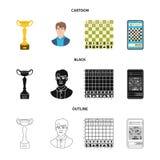 Projeto do vetor do checkmate e do s?mbolo fino Ajuste do s?mbolo de a??es do checkmate e do alvo para a Web ilustração do vetor
