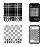 Projeto do vetor do checkmate e do sinal fino Ajuste do ?cone do vetor do checkmate e do alvo para o estoque ilustração do vetor