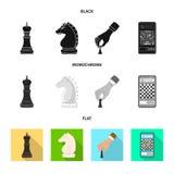 Projeto do vetor do checkmate e do sinal fino Ajuste da ilustração do vetor do estoque do checkmate e do alvo ilustração do vetor