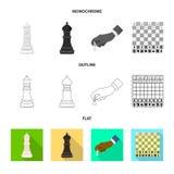 Projeto do vetor do checkmate e do sinal fino Ajuste do símbolo de ações do checkmate e do alvo para a Web ilustração stock