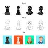 Projeto do vetor do checkmate e do sinal fino Ajuste do s?mbolo de a??es do checkmate e do alvo para a Web ilustração royalty free