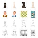 Projeto do vetor do checkmate e do sinal fino Coleção do ícone do vetor do checkmate e do alvo para o estoque ilustração stock