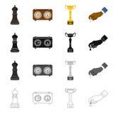 Projeto do vetor do checkmate e do sinal fino Coleção do símbolo de ações do checkmate e do alvo para a Web ilustração do vetor
