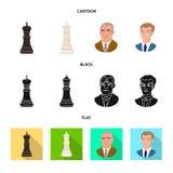 Projeto do vetor do checkmate e do sinal fino Cole??o do s?mbolo de a??es do checkmate e do alvo para a Web ilustração do vetor