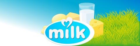 Projeto do vetor com leite, produtos láteos Foto de Stock