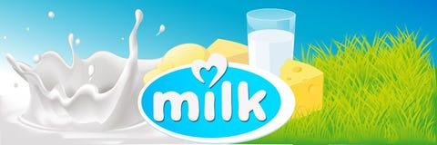 Projeto do vetor com respingo do leite, produtos láteos Imagens de Stock