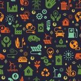 Projeto do vetor com teste padrão sem emenda da ecologia e conceito verde da energia no estilo liso na moda ilustração do vetor