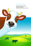 Projeto do vetor com vaca e paisagem Imagem de Stock Royalty Free