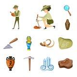 Projeto do vetor da arqueologia e do sinal hist?rico Ajuste da ilustra??o da arqueologia e do vetor do estoque da escava??o ilustração do vetor
