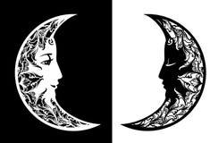Projeto do vetor da boa noite e da cara de lua dos sonhos doces imagens de stock