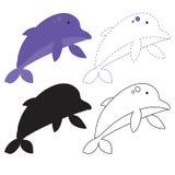 Projeto do vetor da folha do golfinho ilustração royalty free