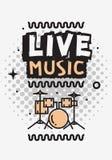 Projeto do vetor de Live Music In The Concert com grupo de cilindros ilustração do vetor