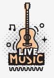 Projeto do vetor de Live Music In The Concert com guitarra acústica ilustração do vetor