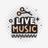 Projeto do vetor de Live Music In The Concert com pilões ilustração royalty free