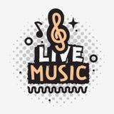 Projeto do vetor de Live Music In The Concert com sinal da clave de sol ilustração stock