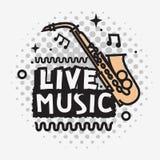 Projeto do vetor de Live Music In The Concert com um saxofone ilustração royalty free