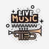 Projeto do vetor de Live Music In The Concert com uma trombeta ilustração stock
