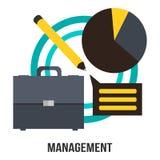 Projeto do vetor do conceito do negócio da gestão - apresentação da mala de viagem, do diagrama e do lápis Imagens de Stock