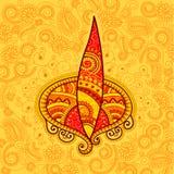 Projeto do vetor do diya floral de Diwali Foto de Stock