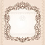 Projeto do vetor do Doodle do frame da flor do tatuagem do Henna Imagem de Stock Royalty Free