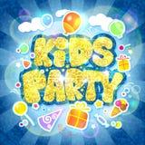 Projeto do vetor do partido das crianças, zombaria do cartão do convite acima ilustração stock