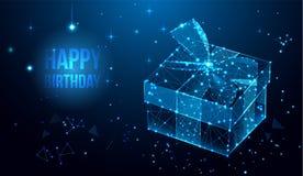 Projeto do vetor do feliz aniversario para cartões e cartaz com caixa de presente, fita Cartão poligonal geométrico ilustração do vetor