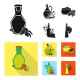 Projeto do vetor do logotipo saudável e vegetal Ajuste do ícone saudável e da agricultura do vetor para o estoque ilustração do vetor