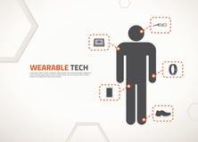 Projeto do vetor para a tecnologia wearable Fotografia de Stock