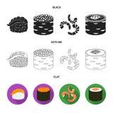 Projeto do vetor do símbolo do sushi e do arroz Ajuste da ilustração do vetor do estoque do sushi e do atum ilustração do vetor
