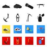 Projeto do vetor do sinal do alpinismo e do pico Grupo de símbolo de ações do alpinismo e do acampamento para a Web ilustração do vetor
