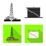 Projeto do vetor do sinal do petróleo e gás Coleção do símbolo de ações do óleo e da gasolina para a Web ilustração royalty free