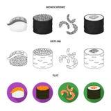 Projeto do vetor do sinal do sushi e do arroz Coleção da ilustração do vetor do estoque do sushi e do atum ilustração royalty free