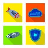 Projeto do vetor do vírus e do ícone seguro Coleção do vírus e ícone do vetor do cyber para o estoque ilustração stock