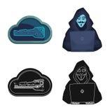 Projeto do vetor do vírus e do ícone seguro Coleção do vírus e do símbolo de ações do cyber para a Web ilustração stock