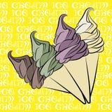 Projeto do vintage do cone de gelado de baunilha Fotos de Stock