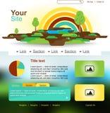 Projeto do Web site com arco-íris e árvores Ilustração Stock